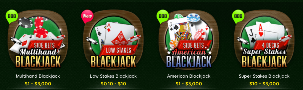 888casino blackjack offers