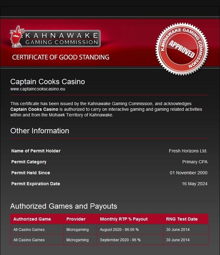 captain cooks casino license