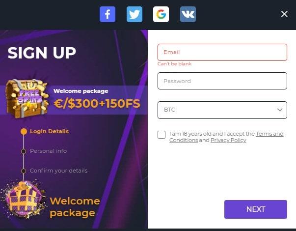 iLucki casino sign up process