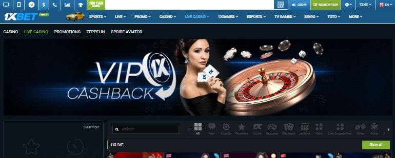 1xBet Casino Homepage