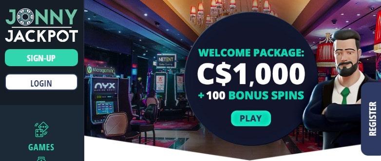 Jonny Jackpot Casino Homepage
