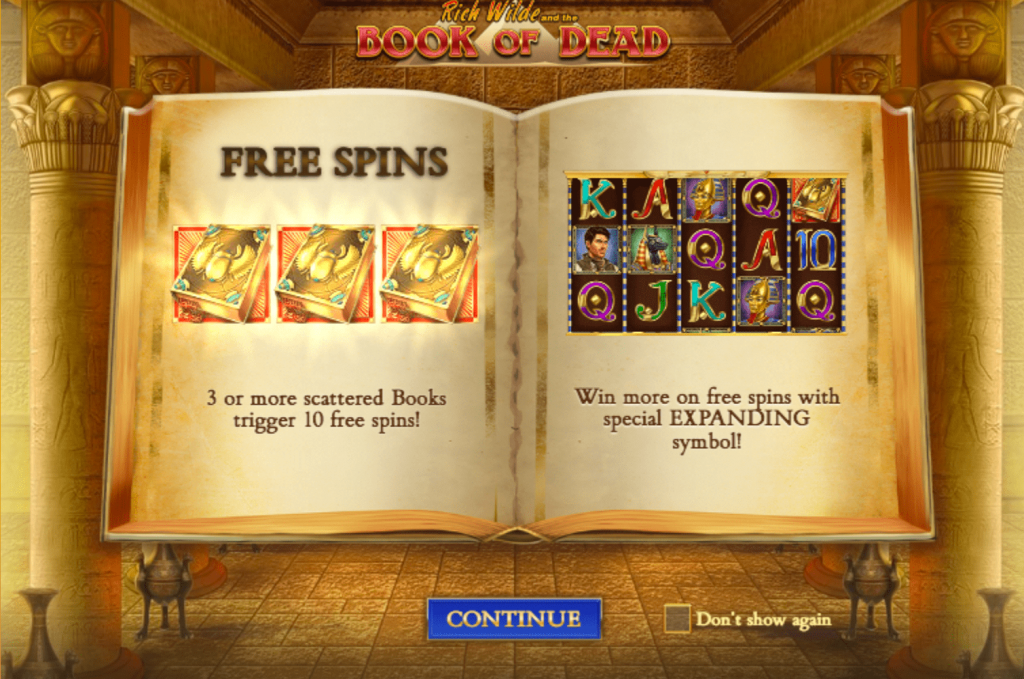 Dunder Book of dead slot free spins