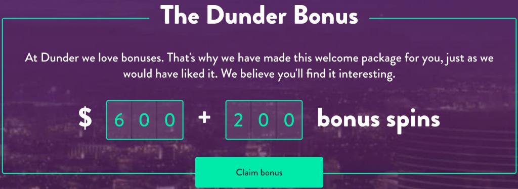 Dunder casino promo